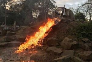 A slide on fire in the play area of Burn Valley Gardens in Hartlepool. Photo by Hartlepool Neighbourhood Police Team.