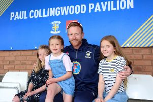 Paul Collingwood with his children at the Paul Collingwood Pavilion unveiling at the Emirates Riverside.  Picture by Tom Banks