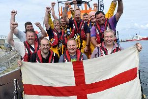 Hartlepool RNLI volunteers are cheering on England ahead of tomorrow's World Cup semi-final against Croatia. Picture by RNLI/Tom Collins.