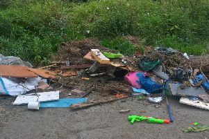 Some of the waste dumped in Limekiln Gill.