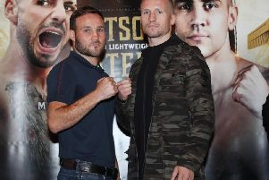 Glenn Foot with Robbie Davies Jnr at Newcastle's Civic Centre today.
