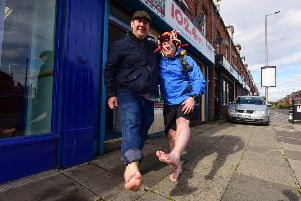Brest foot forward, Paul Suggitt walking barefoot around the town in training for a barefoot challenge he is doing next year, pictured with Councillor Stephen Akers-Belcher, on Saturday.