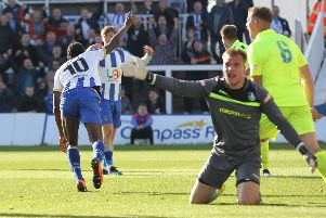 Hartlepool United's Niko Muir runs away to celebrate after putting them into a 1-0 lead against Kidsgrove Athletic.