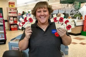 Hartlepool Poppy Appeal organiser Sian Cameron with some of the Royal British Legion wooden crosses.