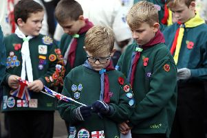 Youngsters at the Remembrance Sunday service  at the Victory Square War Memorial in Hartlepool