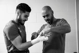Josh Kelly with trainer Adam Booth via Mark Robinson/Matchroom.