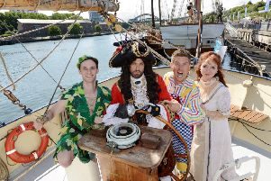 The cast of high-flying pantomime adventure, Peter Pan at The Tall Ships in Sunderland. 'Jamie Lomas as Captain Hook, Richard McCourt as Mr Smee, Melanie Walters as Mother', Mrs Darling and Josh Andrews as Peter Pan.