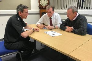 Mike Hill, MP, with Hartlepool Chief Inspector Nigel Burrell and PCC Barry Coppinger.