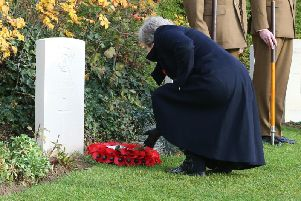 Theresa May lays a wreath at the grave of fallen Hartlepool solider George Edwin Ellison.