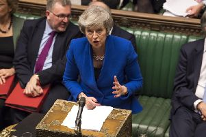 Prime Minister Theresa May during Prime Minister's Questions in the House of Commons, London. Photo credit should read: Mark Duffy/UK Parliament/PA Wire