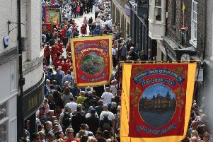 People attending Durham Miners' Gala.