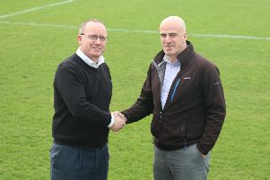 Pools Chief Executive Mark Maguire and Stagecoach Managing Director Steve Walker. Picture: Hartlepool United.
