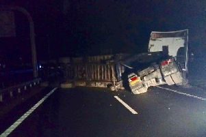 A lorry which has jack-knifed on the A1 at Scotch Corner. Picture courtesy of North Yorkshire Police Roads Policing Group.