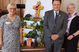 From left, The Reverend Cath Thompson, of the Church of the Nazarene, Councillor Stephen Thomas, chair of Hartlepool Borough Council's adult and community based services committee, and Caroline Ryder-Jones, from Dementia-Friendly Hartlepool, at a dementia friendly harvest festival last year. ''Read more at: https://www.hartlepoolmail.co.uk/news/hartlepool-borough-council-vows-to-help-people-with-dementia-1-9487717