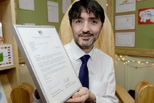 Ward Jackson Church of England VA Primary School Headteacher David Akers with his framed letter from the Secretary of State for Education. Picture by FRANK REID