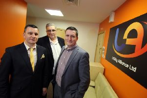 Utility Alliance managing directors Bob Moore (left) and Phill Moore (right) and CEO Darren Sutherland (centre).