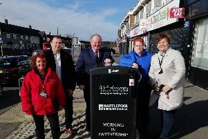 From left, Joy Bishop, Neighbourhood Co-ordinator with Thirteen, Councillor Stephen Akers-Belcher, Councillor Allan Barclay, Councillor Marjorie James and Natalie Usai with one of the new bins.