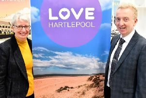 Hartlepool Borough Council chief executive Gill Alexander and council leader Coun Christopher Akers-Belcher at the launch of the Love Hartlepool campaign.