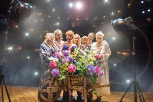 From left to right, Rebecca Storm, Fern Britton, Anna-Jane Casey, Sara Crowe, Ruth Madoc, Karen Dunbar and Denise Welch in Calendar Girls The Musical. Note that Ruth Madoc is not scheduled to appear in the Sunderland shows.