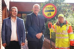 From left, Councillor Stephen Akers-Belcher,chair of Hartlepool Borough Councils Neighbourhood Services Committee,Councillor Kevin Cranney, deputy leader of Hartlepool Borough Council and School Crossing Patrol Warden Anne Devlin.