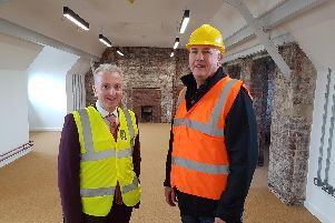 Hartlepool Borough Council leader Councillor Christopher Akers-Belcher (left) and Councillor Kevin Cranney, chair of the councils Regeneration Services Committee, inspect progress in one of the BIS units.