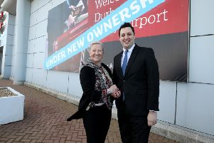 Tees Valley Mayor Ben Houchen with Stobart Group's Kate Willard. Picture by Dave Charnley Photography