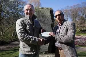 Stephen Close (left) of History  of Hartlepool group with Tony Kaid of Cafe Rapport in front of the Boer War plinth in Ward Jackson Park.