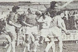 A real scramble in the Barnsley goalmouth during Pools' 4-3 win in April, 1975.