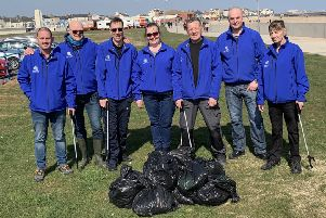 Middleton Grange Shopping Centre Manager, Mark Rycraft (second left) and his team hit Seaton for a beach clean-up as part of LoveHartlepool's campaign to support Keep Britain Tidy's Great British Spring Clean 2019.