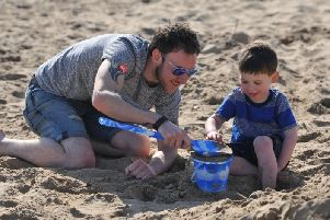 Andrew and Jack Shields enjoying the Easter Bank Holiday Monday weather at Seaton Carew.