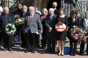 Guests at the Workers Memorial Day service in Hartlepool gather to lay wreaths.