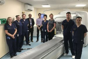 Staff welcome the new GE Discovery 850 SPECT-CT which combines two types of radiology images - functional molecular imaging with anatomical CT, to provide superior image quality.