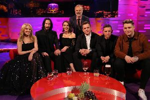 Host Graham Norton with (seated left to right) Kylie Minogue, Keanu Reeves, Suranne Jones, Taron Egerton, Jamie Bell and Michael Rice during the filming for the Graham Norton Show at BBC Studioworks 6 Television Centre, Wood Lane, London, to be aired on BBC One on Friday evening.Picture: PA Images on behalf of So TV.