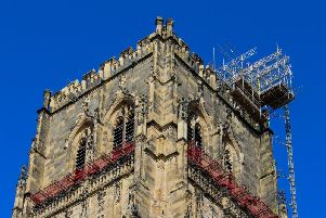 Most of the scaffolding has been removed. Image  Chapter of Durham Cathedral
