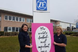 Vikki Lambert from Cancer Resarch UK with Lisa Hudson from ZF.