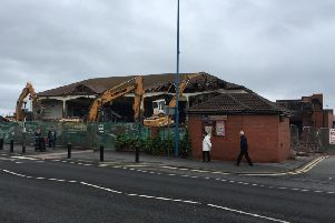 Demolition work at the Longscar Centre. Picture by Mark Payne
