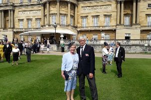 Hartlepool RNLI Chairman Malcolm Cook and wife Marjorie pictured in the grounds of Buckingham Palace. Picture by RNLI/Malcolm Cook