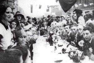 People at a Hartlepool street party to mark the end of the First World War.