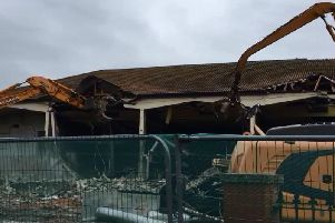 Demolition work on the Longscar Centre at the weekend