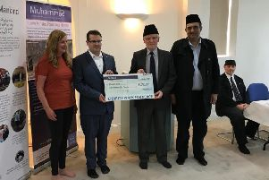 From left: The Wharton Trust's Theresa Driver and Trevor Sherwood, with Bilal Atkinson (Regional President), Luftur Rehman (Regional Elders President) and Tahir Selby.