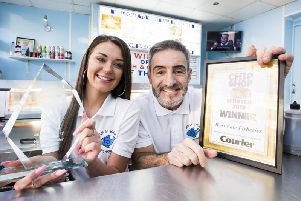Chip Shop of the Year 2019 winner: West Vale Fisheries, featuring counter assistant Lydia Horsfall and owner Mark Kosanovic