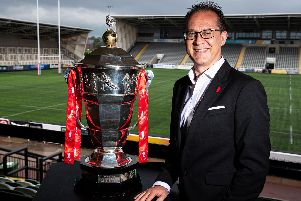 Rugby League World Cup CEO Jon Dutton with the trophy. (SWPIX)