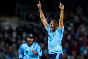 Tim Bresnan celebrates one of six wickets he took in last Friday's win over Lancashire (Picture: SWPix.com)