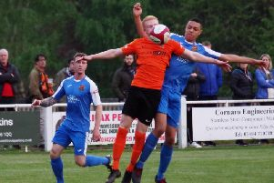 Gabriel Johnson scored Brighouse Town's third goal against Sheffield FC. PIC: Steven Ambler.