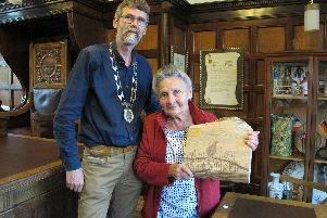 Dorothy Sutcliffe with chairman of the parish council, Grayde Bowen