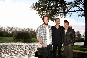 How Liam, Chris and Luke Hemsworth could look if they visited Hemsworth Water Park. (Photo credit: Water park, JPI Media; Hemsworth Brothers, Getty Images.)