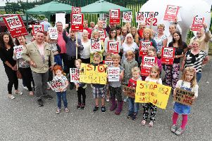 Crofton Against HS2 campaigners protesting outside Crofton Community Centre.