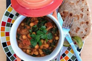 Karen's delicious vegan spinach and chickpea curry