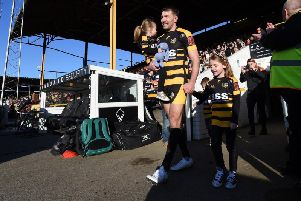 Michael Shenton and family lead the Castleford Tigers team out for his testimonial match against Toronto Wolfpack. Picture: Matthew Merrick