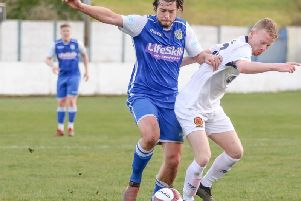 Jake Currie in action for Frickley Athletic this season. Picture: Onion Bag Photography